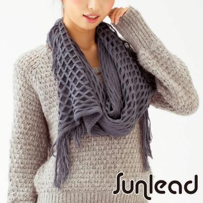 Sunlead 日系格菱紋斜口雙層編織長版防寒保暖圍巾/領巾/脖圍