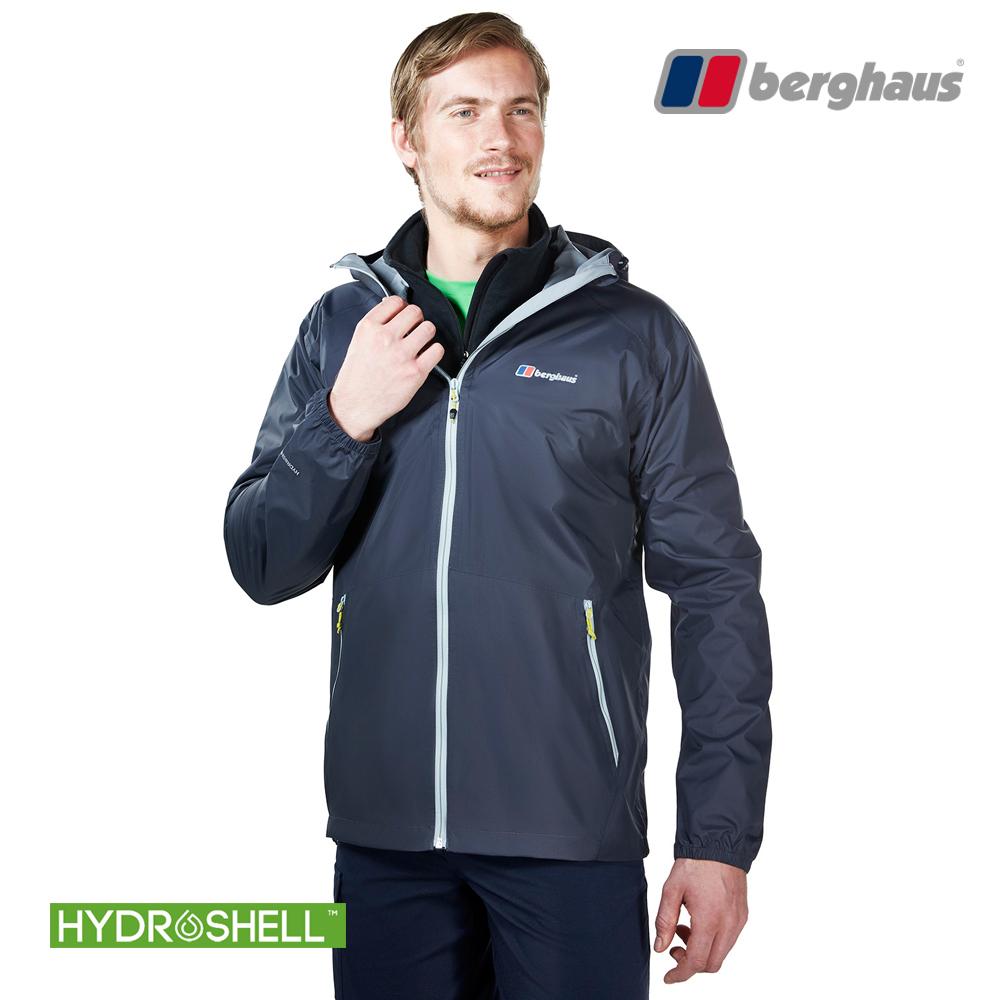 【Berghaus貝豪斯】男款HS輕量防水透氣連帽外套H22MV1碳灰