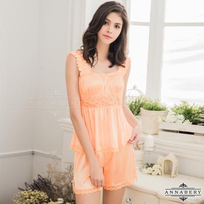 大尺碼 甜美粉橘色系上衣短褲二件組 粉橘 L-2L Annabery
