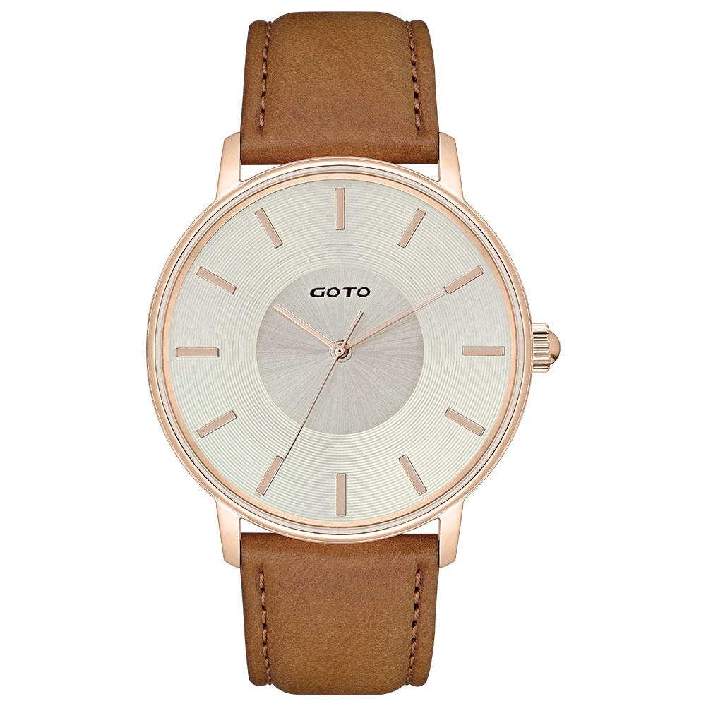 GOTO THINK簡約時尚手錶-IP玫x金/43mm