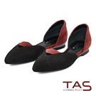 TAS 撞色拼接一字鏤空尖頭鞋-女爵紅