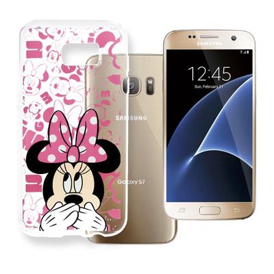 迪士尼 Samsung Galaxy S7 5.1吋 大頭透明手機軟殼(摀嘴米妮...