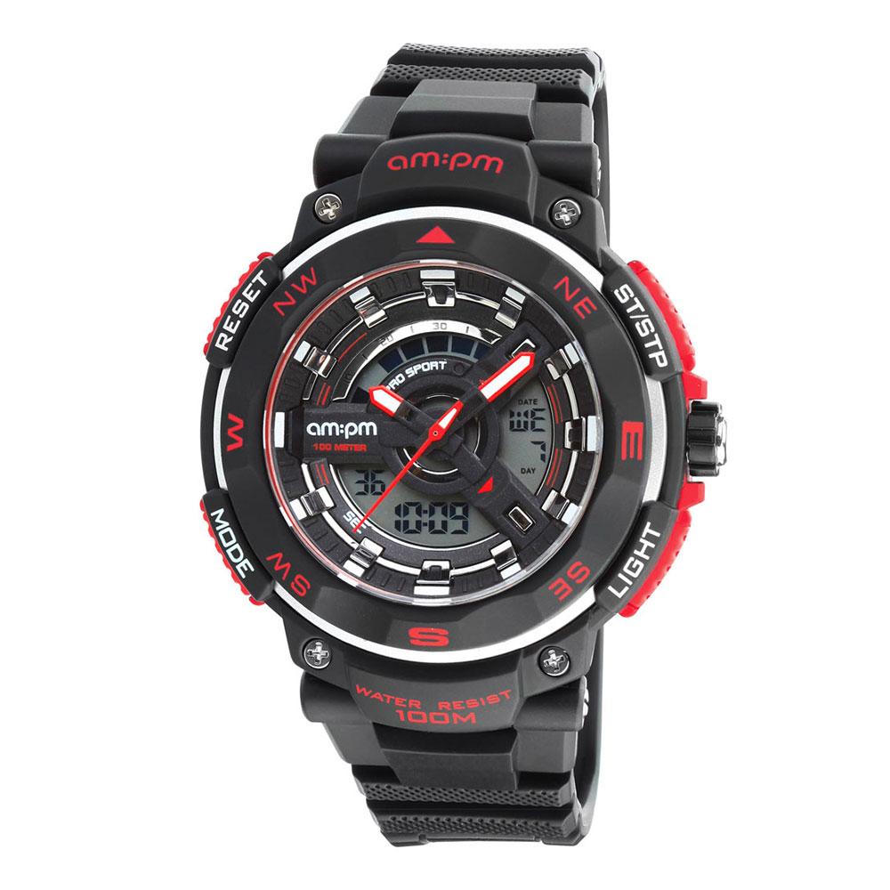 AM:PM瑞士精品手錶 DIGITAL運動系列 紅色指針式電子錶盤/黑色錶帶51mm