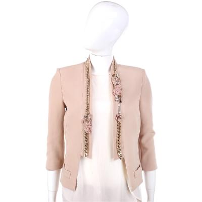 ELISABETTA FRANCHI 駝色玫瑰花鍊飾邊西裝外套