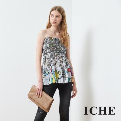 ICHE 衣哲 度假印花時尚平口造型上衣