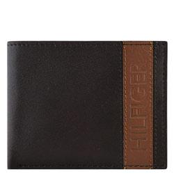 TOMMY 巧克力色真皮壓紋雙摺八卡短夾