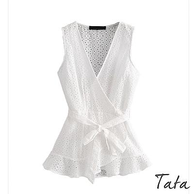 無袖綁帶荷葉擺上衣 TATA