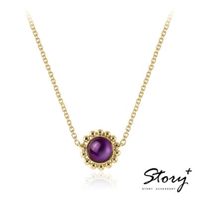 STORY故事銀飾-拾露-古典寶石項鍊-黃K金款