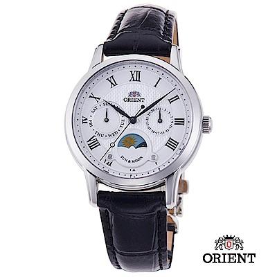 ORIENT 東方錶 SUN&MOON系列 日月相錶 皮帶款 白色-34.8mm