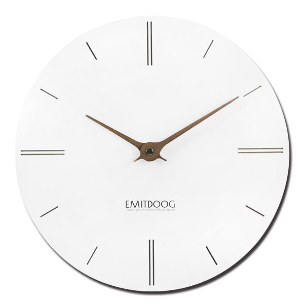 12吋簡約時尚現代居家輕薄簡約直刻餐廳客廳臥室靜音圓掛鐘 - 白色