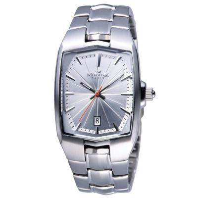 MORRIS K 巴黎時尚光茫波紋腕錶-白/37mm