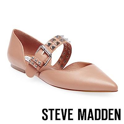 STEVE MADDEN-PIXEL  腳背帶飾釦鉚釘尖頭平底鞋-粉藕