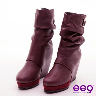 ee9 時尚伸展台~造型厚底抓皺內增高中筒靴~迷情紫褐