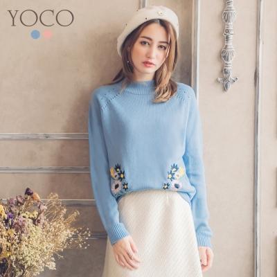 東京著衣-yoco 甜美女孩繡花素色長袖針織衫-S.M.L(共二色)