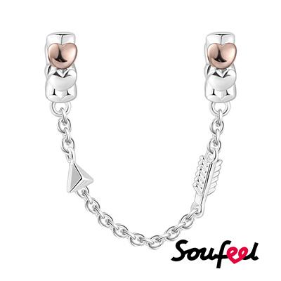 SOUFEEL索菲爾 925純銀珠飾 愛之箭 安全鏈(玫瑰金)