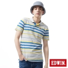 EDWIN POLO衫 PK寬條POLO衫-男-麻灰