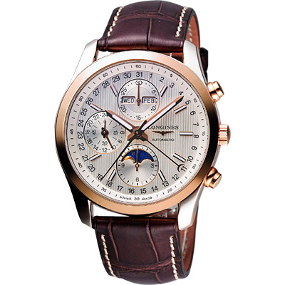 LONGINES Conquest 月相計時機械腕錶-半玫瑰金x咖啡/42mm