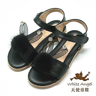 天使童鞋 雪妍免涼鞋(中-大童)J852-黑