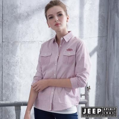JEEP 女裝 美式經典直條紋長袖襯衫 -粉色