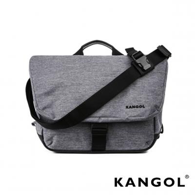 KANGOL韓國IT男爵系列手提/肩背兩用防盜郵差包(背帶可拆)-混織灰