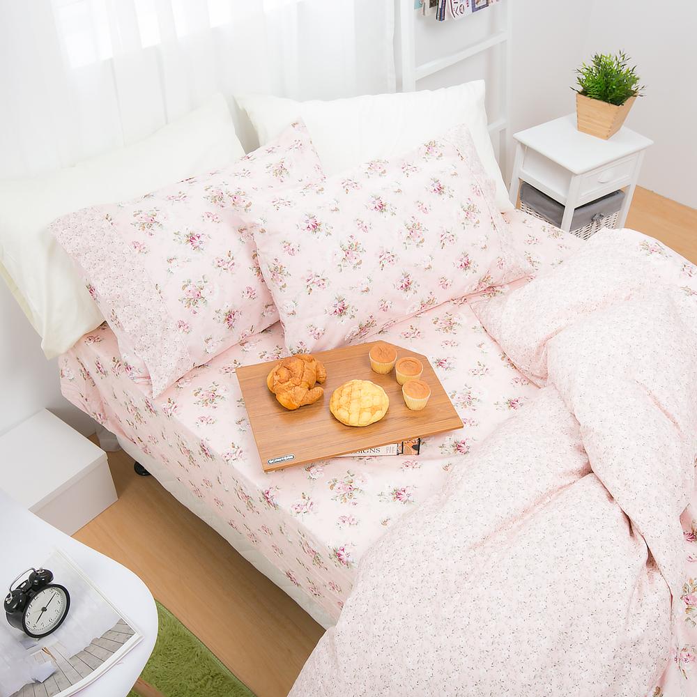 鴻宇HongYew 100%精梳棉 春漾庭園-粉 雙人加大床包枕套三件組