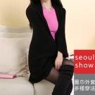 Seoul Show首爾秀 加厚蝙蝠袖罩衫針織斗篷毛衣外套圍巾披肩 黑色