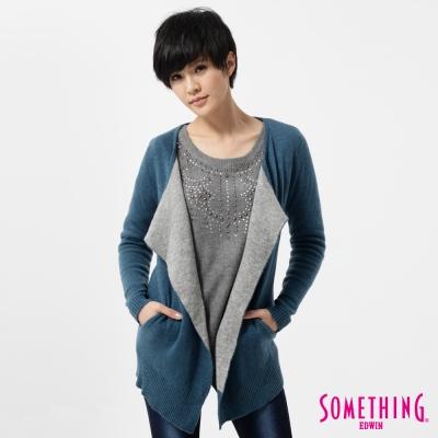 SOMETHING-針織外套-簡約開襟線衫外套-女-藍色