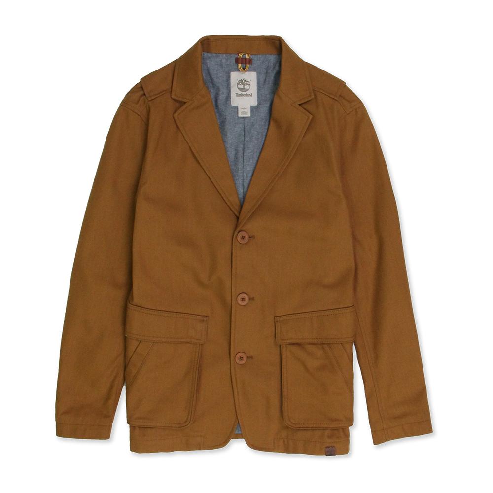 Timberland 男款黃褐色雙層口袋長袖西裝外套
