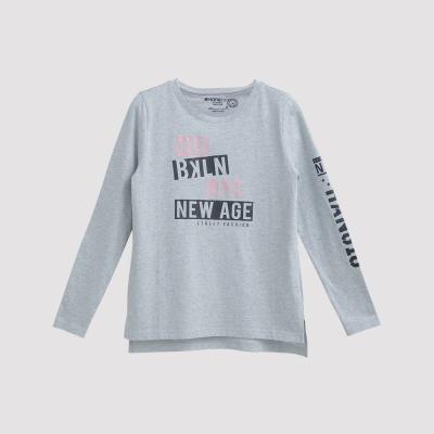 Hang Ten - 女裝 - 有機棉 NEW AGE圖章T恤 - 灰