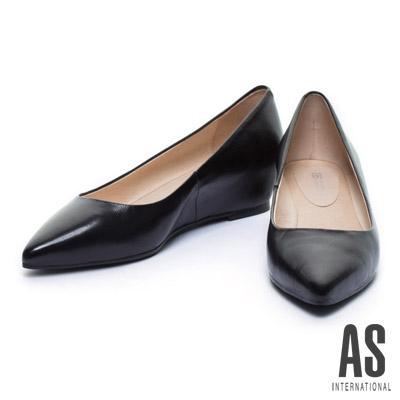 楔型鞋-AS-經典素面全真皮尖頭楔型鞋-黑