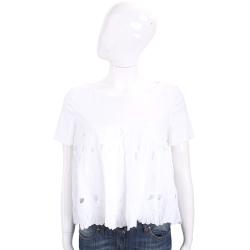 Maria Grazia Severi 白色洞洞浮雕花短袖上衣