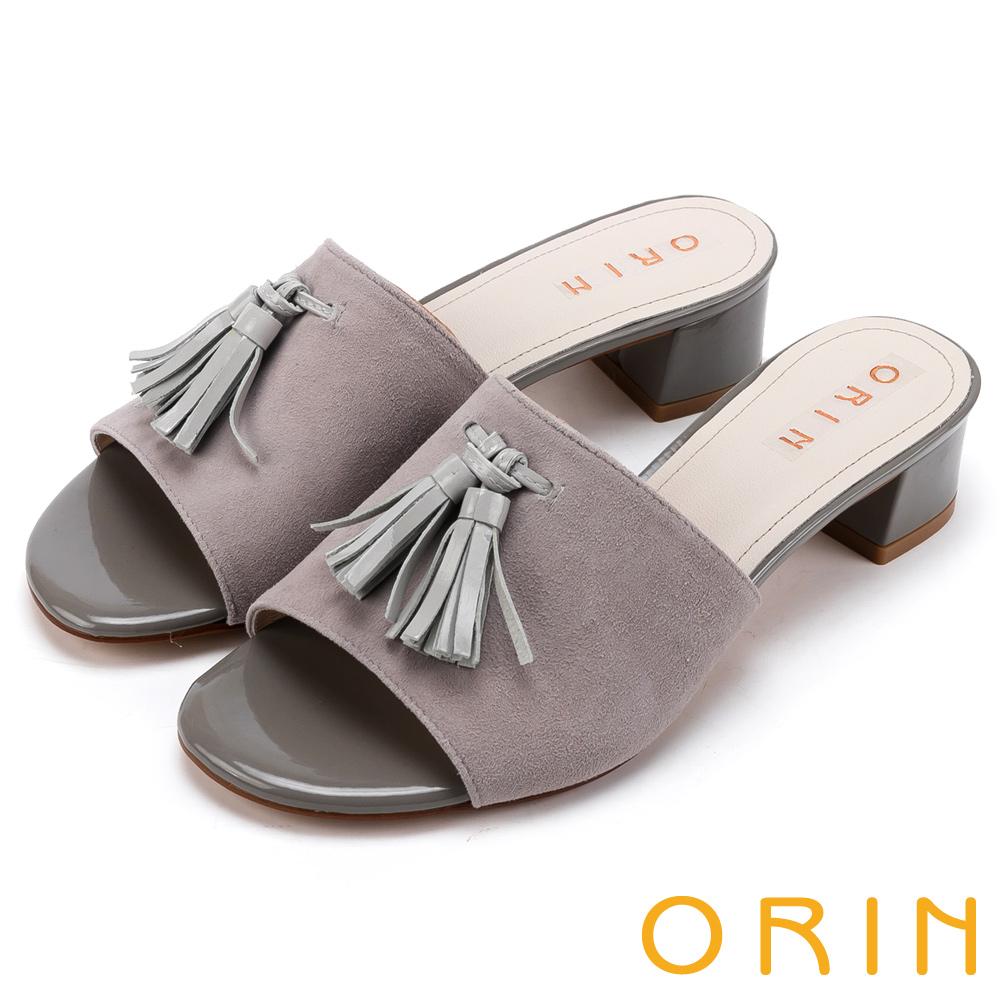 ORIN 簡約時尚潮流 皮革流蘇經典真皮粗跟拖鞋-灰色