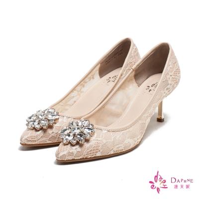 達芙妮DAPHNE-璀璨皇后花型寶石刺繡蕾絲尖頭高跟鞋-氣質裸膚