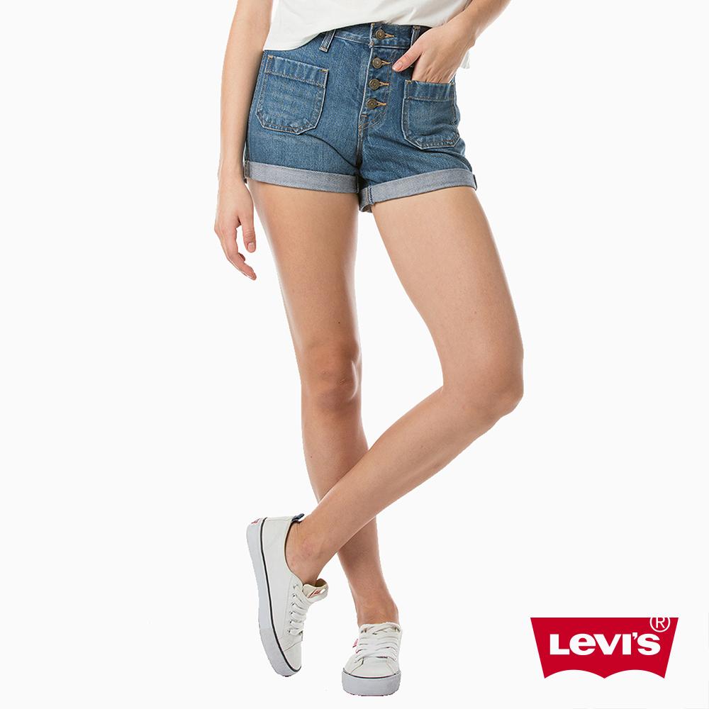 Levis 女款 高腰牛仔短褲 排釦