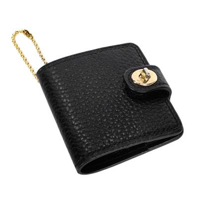 COACH黑色荔枝紋全皮旋釦書套造型鑰匙圈