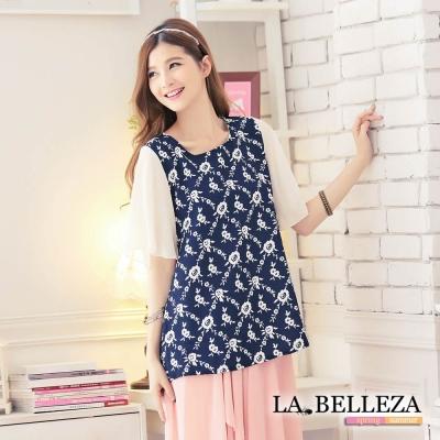 La Belleza藍色花朵後綁帶袖接雪紡上衣