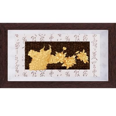 開運陶源  純金彩金系列【花開富貴】金箔畫