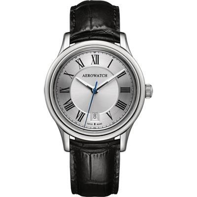 AEROWATCH 經典羅馬旗鑑腕錶-銀x黑/40mm