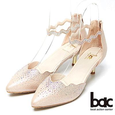bac窈窕淑女-閃亮水鑽裝飾高跟美鞋-粉金