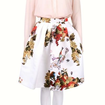 BLUGIRL 白色果實印花抓褶及膝裙