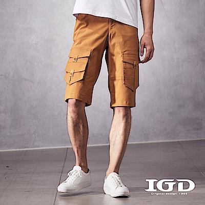 IGD英格麗 都會休閒斜紋彈性棉質剪接口袋造型五分工作短褲