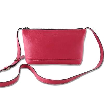 Sika義大利時尚真皮荔枝壓紋肩側背包L6178-04/桃紅