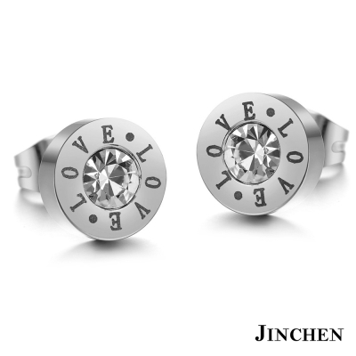 JINCHEN 白鋼LOVE耳環 銀色