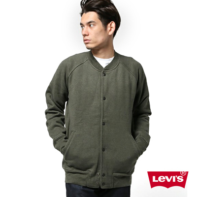 男款長袖棒球外套-刺繡-LOGO-質感軍綠-Levis
