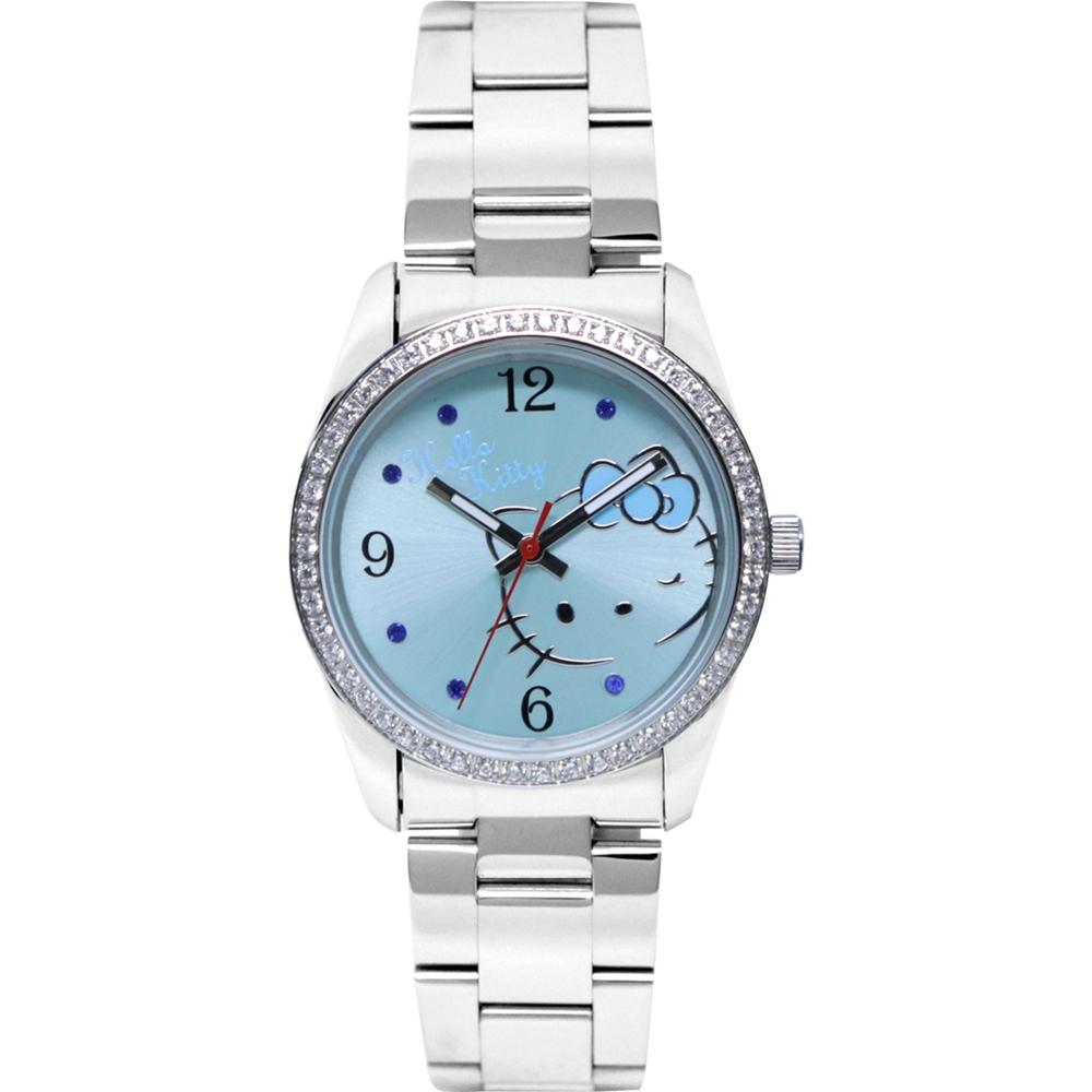 HELLO KITTY 凱蒂貓俏皮眨眼晶鑽手錶-藍 /36mm