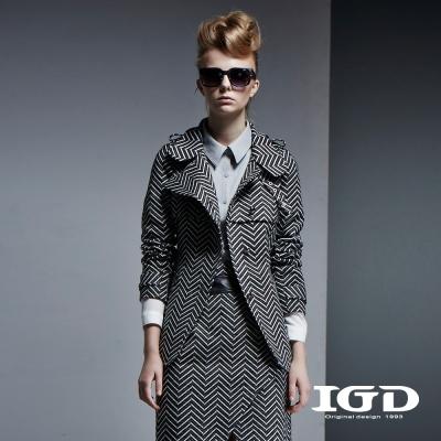 IGD英格麗-鋸齒毛呢長版立領綁帶外套