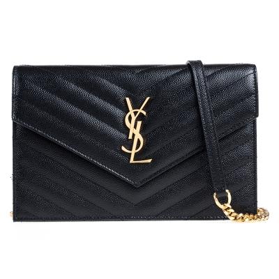 YSL V字縫線斜紋牛皮金屬LOGO金鍊斜肩/手拿包(黑色/小)