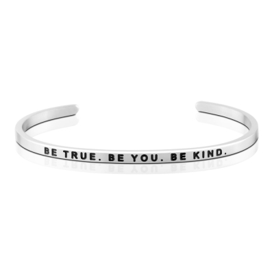 MANTRABAND 美國悄悄話手環 Be True Be You Be Kind 銀色