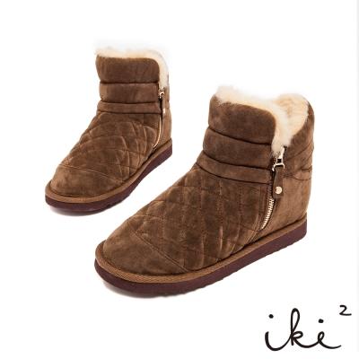 iki2冬戀序曲-時尚菱格紋側拉鍊內增高雪靴-綠豆青