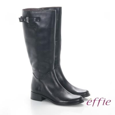effie 魅力時尚 真皮立體壓紋低跟直筒長靴 黑